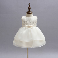 Vintage White Baby Wedding Dress 2017 Summer Newborn Baby Girl 1 2 Years Birthday Dress Lace Toddler Girl Party Baptism Clothes