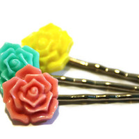 Flower Bobby Pins, Hair Accessory, .. on Luulla