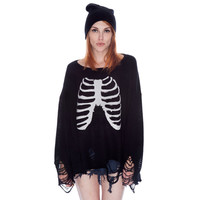 Black Skeleton Hole Loose Sweater