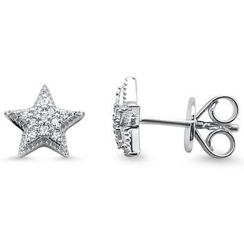 14K White, Yellow or Rose Gold Ethically Mined Diamond Star Stud Earrings