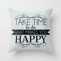 Take Time - Blue Throw Pillow by Mockingbird Avenue