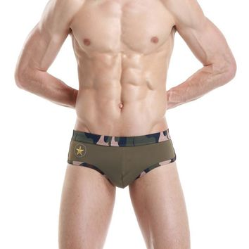 High Quality Sexy Comfortable Summer Camouflage Low Waist Pants Men Swimwear [6526528259]