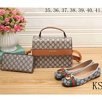 GUCCI 2018 new counter models women's exquisite three-piece fashion F-KSPJ-BBDL Apricot/Brown Bag+ Shoes (Three-piece)