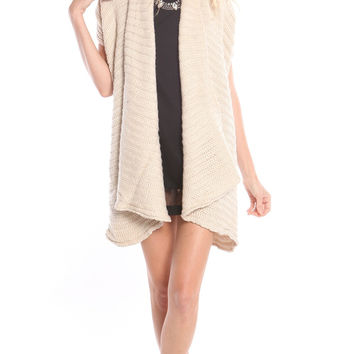 IVORY SHORT SLEEVE OPEN FRONT KNIT CARDIGAN