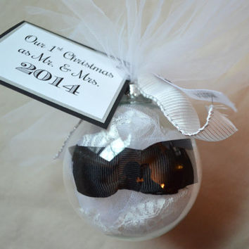 NEW Mr. and Mrs. Christmas Holiday glass ornaments bow tie lace newlywed Christmas Our first Christmas