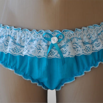 Blue Cotton Ruffled Panties - Handmade