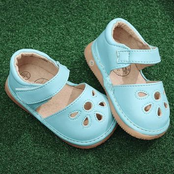 Summer hot PU leather baby hollow out sandals baby kids solid shoes rubber sole funny baby squeaky shoes outdoors