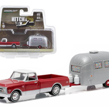 1968 Chevrolet C-10 and Airstream 16 Bambi Sport with Curtains Drawn Hitch & Tow Series 6 1-64 Diecast Model by Greenlight