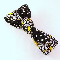 Baby Toddler Pre-tied Head Scarfs Yellow Sunflower over Black Polka Dots Headband for Infant Toddler Baby Headband Hair Accessory