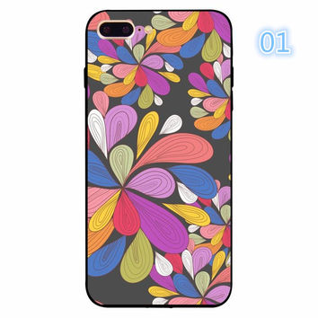 Funny Luxury Colorful Retro Floral Red Rose Flower Abstract Print For iphone 5 5s se 6 6s 7 Plus Clear Back Cover Coque Funda -0405