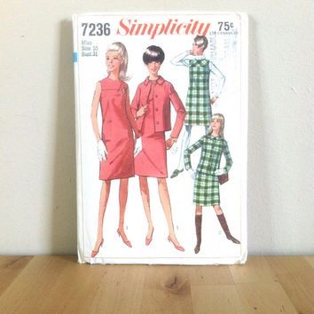 Simplicity 7236 Misses' Jacket, Dress, or Jumper {1960s} Vintage Sewing Pattern