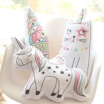 Cartoon Stuffed Animal Toy Unicorn Cat Plush Pillow Soft Unicorn Horse Cushion Plush Toys New Style Doll