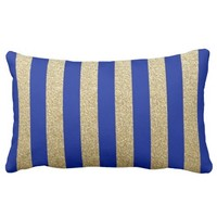 Blue and Gold Glitter Stripes Throw Pillow Lumbar