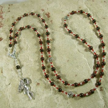 Lilith Prayer Bead Necklace in Garnet: Sumerian/Babylonian Goddess of Fertility and Free Will