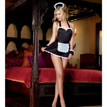 4 Pc Maid Me Dirty Apron, Maid Cap, French Cuffs, Panty W-dirty Screen Print Black-white O-s