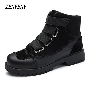 ZENVBNV Fashion Ankle Boots Winter Men's Martin Boots Men Oxfords Men Shoes Warm Buckle Flock Hook Loop Zipper Snow Boots