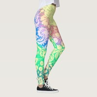 Bright Pastel Tie Dye Rainbow Floral Leggings