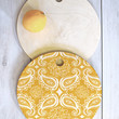 Heather Dutton Plush Paisley Goldenrod Cutting Board Round