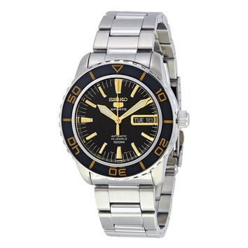 Seiko 5 Black Dial Stainless Steel Automatic Mens Watch SNZH57