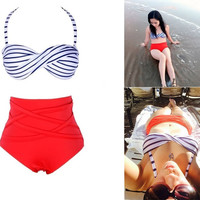 Women Summer Vintage Stripes Bandage Plus Size Bikini High Waist Padded Twisted Swimwear Swimsuit Bathing Suit