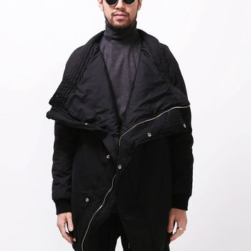 Mens Vandals Huge Turtleneck Extended Long Bomber Jacket - 6oz Cotton Padded at Fabrixquare