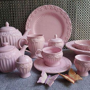 DCCKJG2 Pink Relief Lace Ceramics 11pcs / lot Salad Plate Western Dish Comport Flat Plate Steak Dish Retro Do The Old