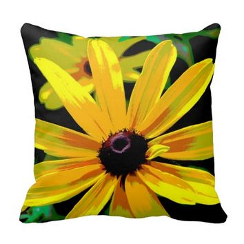 bright yellow daisy pillow