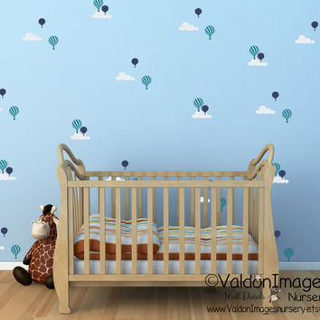 Hot air balloon pattern decal, nursery decor, pattern wall decal, cloud wall decal, balloon wall decal, nursery wall decal, balloon stickers