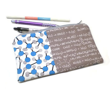 Chemistry geek zippered pencil pouch, case. Atomic bonds and chemistry equations. Blue and gray.