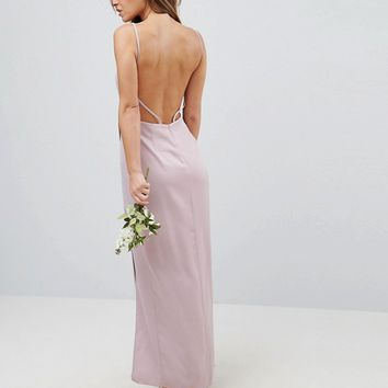 ASOS PETITE WEDDING Drape Front Strappy Back Maxi Dress at asos.com