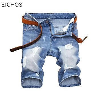 EICHOS New Fashion Denim Jeans Shorts 2017 Men Straight Knee Length Slim Fit Elasticity Cotton Ripped Jeans Shorts Man