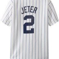 MLB New York Yankees Derek Jeter Home Replica Youth Jersey, White/Navy Pinstrps, Large