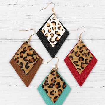 Rhombus Leopard Leather Earrings