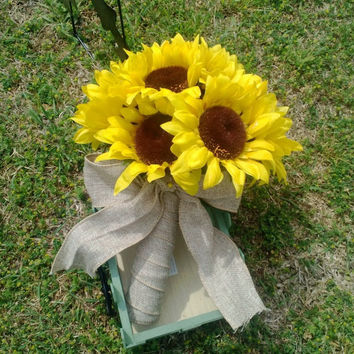 Sunflower Bouquet, Yellow Sunflower Bridal Bouquet, Sunflower Wedding Bouquet, Sunflower Burlap Bouquet, Rustic Bouquet, Rustic Wedding