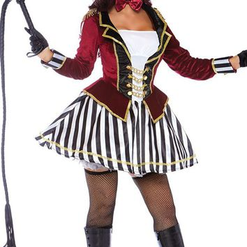 Fierce Ringmaster Burgundy Black White Stripe Pattern Velvet Long Sleeve Chain Flare A Line Mini Dress Halloween Costume