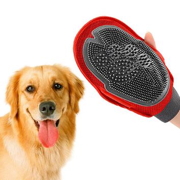 Dog Cat Hair Comb Cleaning Brush Comb Animal Massage Hair Removal Dog Bath Glove Red Plastic Grooming
