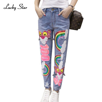 2016 Europe Fashion Rainbow Pattern Sequin Jeans Mujer Ripped Jean Boyfriend Jeans For Women Flare Hole Pantalones Vaqueros P008