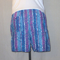 Vintage 80s SURF CRAZY PATTERN Skate Summer Beach Swim Lined Small Medium Shorts