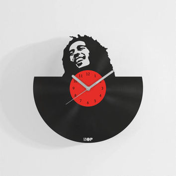 Bob Marley wall clock from upcycled vinyl record (LP) | Hand-made gift for Bob Marley fan | Reggae music lover home wall decoration, present