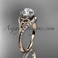 "14kt rose gold diamond celtic trinity knot wedding ring, engagement ring with a ""Forever Brilliant"" Moissanite center stone CT7125"