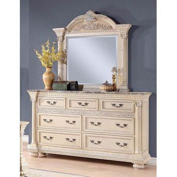 Homelegance Russian Hill Dresser With Faux Marble Top In Antique White