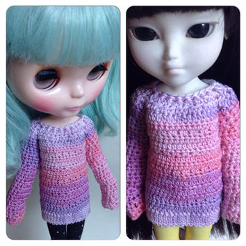 Blythe Sweater, Crochet Makies Sweater, Crochet Doll Clothes, Doll Sweater, Crochet Doll Sweater, Pastel Sweater, Crochet
