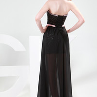 Black Sequins Beaded Strapless High-Low Chiffon Prom Dress