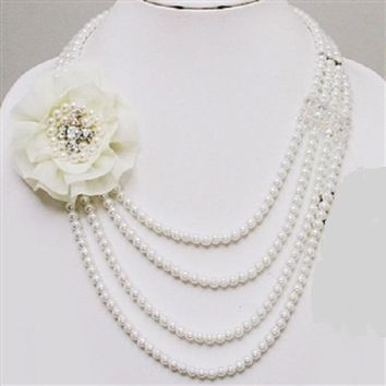 """18"""" silver cream faux pearl collar floral layered strand necklace bridal prom"""