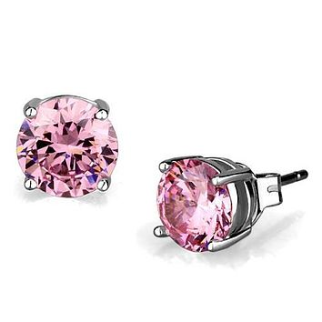 1CT Round Cut Perfect Pink Sapphire Platinum Stud Earrings