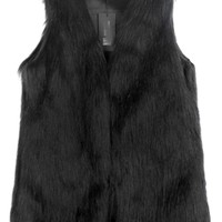 Black Trendy Womens Warm Winter Faux Fur Vest - MelodicDay