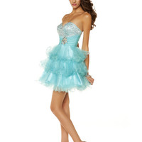 Aqua Ruffled Tulle Beaded Strapless Sweetheart Homecoming Dress - Unique Vintage - Cocktail, Pinup, Holiday & Prom Dresses.