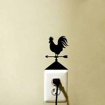 Rooster Velvet Wall Sticker - Weather Vane Vinyl Wall Decal - Kitchen Wall Decor - Light Switch Art - Silhouette Laptop Decal