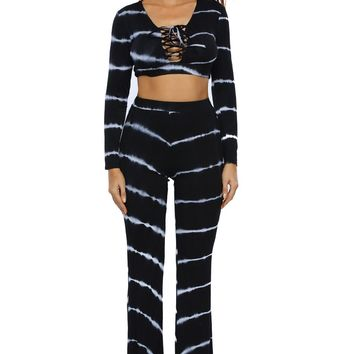 Chicloth Black Tie Dye Print Sexy Two Piece Pant Set