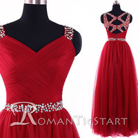 2015 hot red floor-length prom dress with sequins,long evening dress with Criss Cross Straps, tulle long prom dresses,formal dress ,RS1080